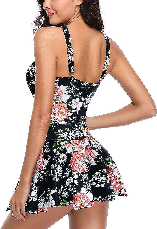 SHEKINI Women's Crossover Ruched Skirt One Piece Swimdress Swimsuit Bathing Suit