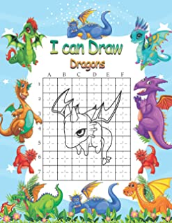 i can draw dragons: learn how to draw dragons and cool staff Step-by-Step Drawing, using the grid method special gift for ...