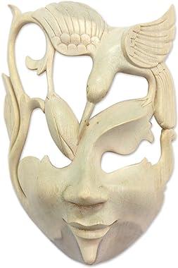 NOVICA Decorative Animal Themed Hibiscus Wood Mask, Beige, Lotus and Hummingbird'