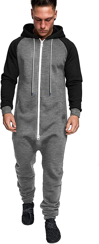 COOFANDY Mens Hooded Jumpsuit Full Zip Piece Sales Onesie One sold out Rompers