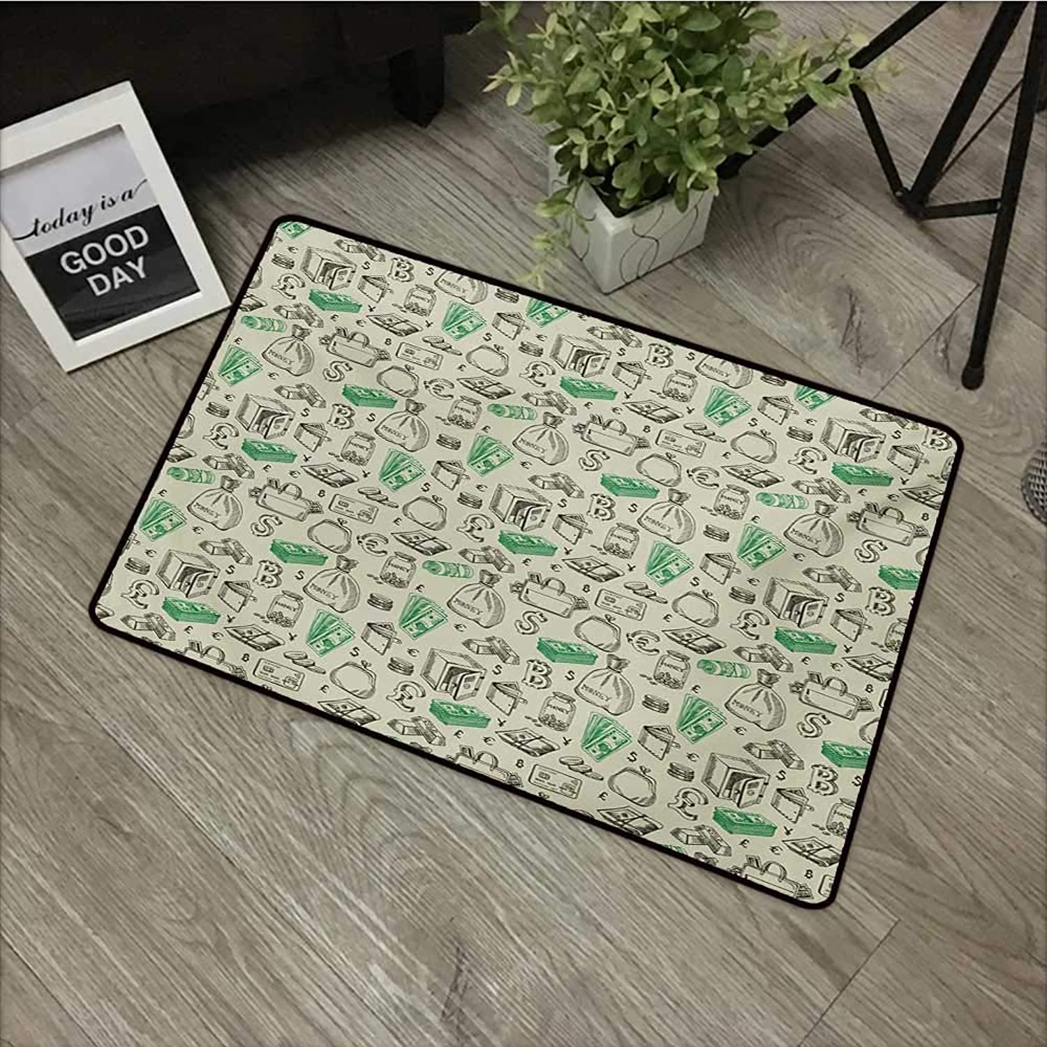 Corridor Door mat W35 x L59 INCH Money,Symbols of Monetary Systems Dollar Crypto Currency Bitcoin Sign Sketch,Pale Green Lime Green with Non-Slip Backing Door Mat Carpet
