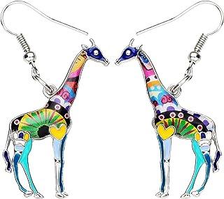 BONSNY Cute Enamel Dangle African Giraffe Earrings for Women Kids Jewelry Novelty Funny Charms