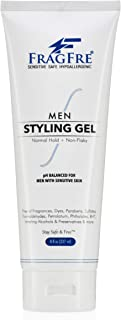 FRAGFRE Men Hair Styling Gel Fragrance Free 8 oz - pH Balanced for Men with Sensitive Skins - Not Too Firm or Too Light - Just Normal Hold for Normal Hair Styles - Hypoallergenic (Bumps Be Gone!)