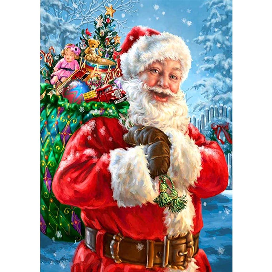 ゲスト一般的に責めるクリスマスサンタクロース5D DIYフルダイヤモンド塗装刺繍クロスステッチスイートホームデコレーション示すように30 * 40CM