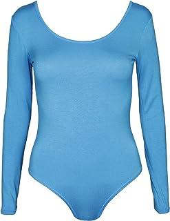 chiusura con bottoni automatici in tessuto elasticizzato Body da donna in tinta unita a maniche lunghe scollo rotondo