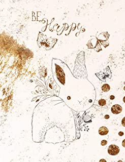 Be Happy: Vintage Gold Bunny Composition Notebook with Wide Ruled Pages
