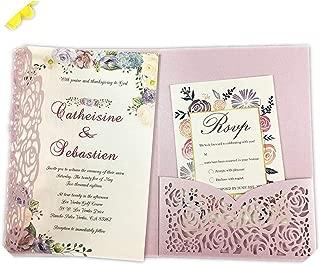 1Pcs Hollow Laser Cut Tri-Fold White Rose Flower Pocketfold Wedding Invitation Card Pocket,Pink Pilao,Cover Only