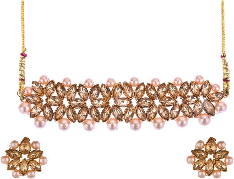 Efulgenz Crystal Kundan Pearl Rhinestone Indian Boho Floral Choker Neckalce Earrings Wedding Bridal Jewelry Set