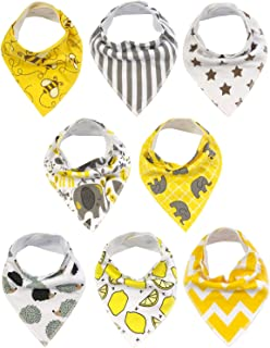 Wrapables Baby Bandana Drool Bibs, Super Soft and Absorbent Bibs for Drooling and Teething (Set 8)