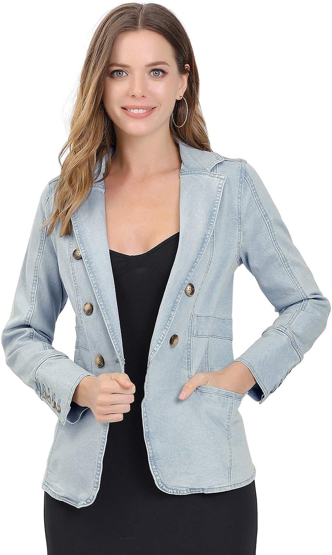 Allegra K Women's Jean Blazer Lapel Long Sleeve Work Office Denim Jacket with Pockets