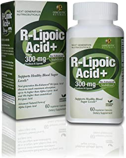 Genceutic Naturals R-Lipoic Acid Dietary Supplement Vegetarian Vegan Gluten Free Non GMO Ideal for Glucose Insulin Blood L...