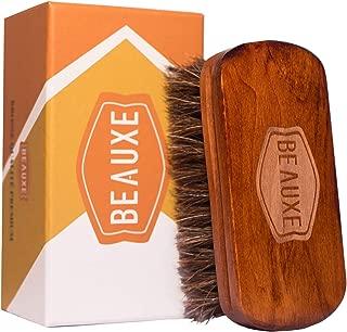 Cepillo para zapatos de lujo en pelo de caballo- eficaz para el limpiado y cuidado de las botas de cuero, asientos de automóvil, sofás, carteras, porta documentos e incluso la barba.