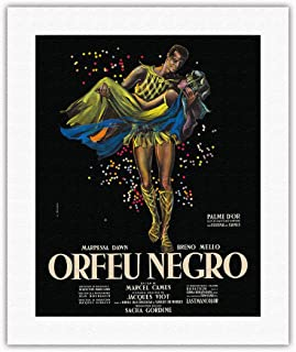 Pacifica Island Art - Black Orpheus (Orfeu Negro) - Directed by Marcel Camus - Vintage Film Movie Poster by Georges Allard c.1959 - Fine Art Rolled Canvas Print - 16in x 20in