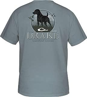 Drake Standing Black Lab Short Sleeve T-Shirt-Ice Blue-Large