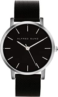 Alfred Sung Watch, Womens Ultra Slim 33mm Silver Case