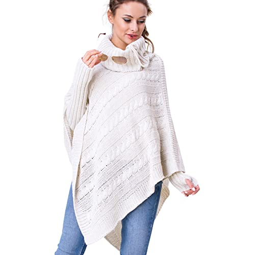 31b3849141334 WozWoz Women's Polo Neck Knit Poncho Cape Jumper + Arm Warmer Fingerless  Gloves