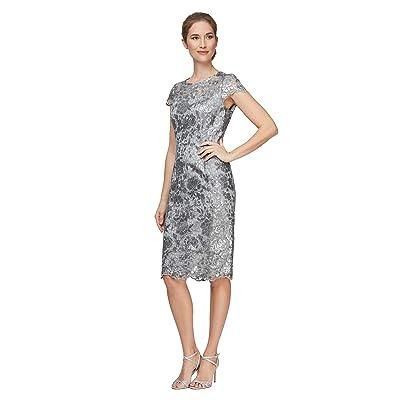 Alex Evenings Short Embroidered Cap Sleeve Dress (Silver) Women