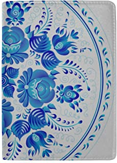 Chinese Porcelain Painting Style Porcelain Plate Blocking Print Passport Holder Cover Case Travel Luggage Passport Wallet Card Holder Made with Leather for Men Women Kids Family