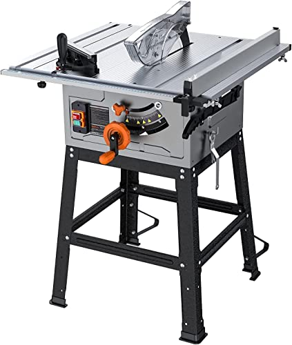 lowest Table popular Saw For Jobsite, 10 Inch, 15-Amp 24T Blade 4800 RPM 45ºBevel Cutting With Extended Desktop, Pusher, Rip Fence, popular Miter Gauge, Metal Stand online sale