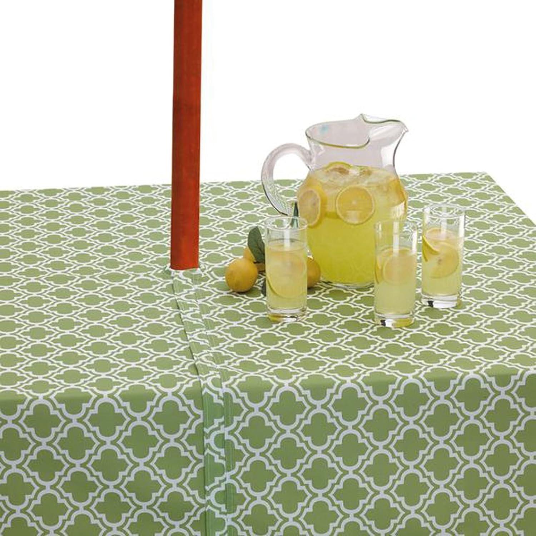 Design Imports 120  Lattice Umbrella Tablecloth in Green