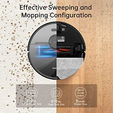 Dreametech D9 Pro Robot Vacuum and Mop Cleaner, Lidar Navigation Robot Vacuum Sweep and Mop 2-in-1, 4000Pa Strong Suction Pow