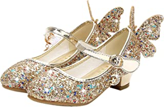 Zapatos de Princesa de Bowknot para Niños Zapatos Bailarinas Sandalias de Vestir Tacón Alto Zapatos de Lentejuelas Velcro Zapatillas para Disfraz de Fiesta Cumpleaños Carnaval EU26-38
