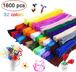 1600 Pieces Pipe Cleaners in 32 Colors Chenille Stems for Home and School DIY Art Crafts (0.23 x 11.8 Inches)