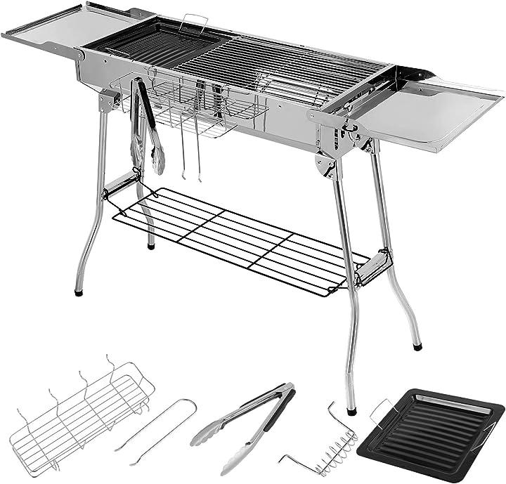 Griglia a carbone pieghevole griglia da tavolo con doppie ali pieghevoli B08X6L4FDR
