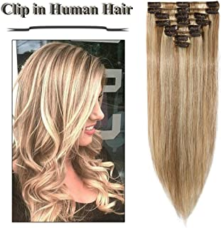 Highlighted Clip in Hair Extensions Golden Brown&Bleach Blonde 14-24 inch Remy Human Hair for Women 8pcs 18 Clips Full Head Soft Straight Hair(20