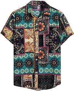 MODOQO T-Shirt for Men,Summer Outdoor Essentials Vintage Patchwork Lapel Tees