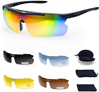 Polarized Mens and Womens Cycling Sunglasses + Five Interchangeable Lenses, Drawstring Bag, and Hard Shell Case   Sports Sunglasses by Stast