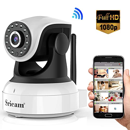 Sricam Cámara IP 1080P, Cámara Vigilancia WiFi Interior Inalámbrico, con Micrófono y Altavoz,