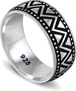 chimoda Mens Silver 9mm Band Ring with Zigzag Motif in 925 Sterling