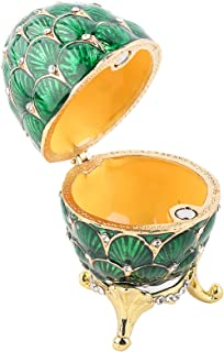 Jewelry Organizer, Easter Egg Box, Birthday Gift Vintage Style Home Decoration Ring for Necklace Hinged Bracelet(Green)