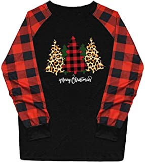Fudule Christmas Shirts for Women Plaid Raglan Long...