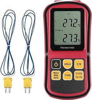 Termometro Termopar GrandBeing Termómetro Digital Medidor de Temperatura Profesional con Doble Termopares de Tipo K para Hogar e Industria