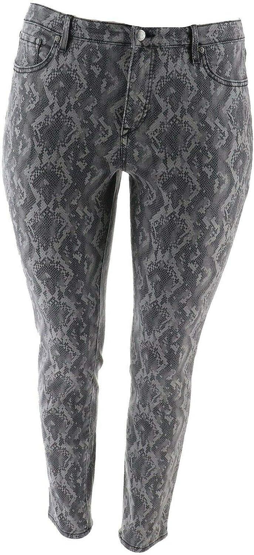 Halston Premier Denim Snake Printed Ankle Jeans A351349