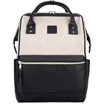 Kah&Kee Leather Backpack Diaper Bag with Laptop Compartment Travel School for Women Man (Beige/Black, Large)
