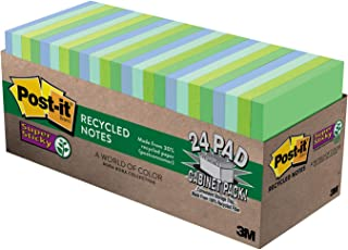Post-it Super Sticky Recycled Notes, 3 in x 3 in, 24 Pads, 70 Sheets/Pad (654-24SST-CP)