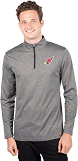 Ultra Game NFL Arizona Cardinals Men's Quarter Zip Pullover Athletic Quick Dry Long Sleeve Tee Shirt, Heather Charcoal, X-Large