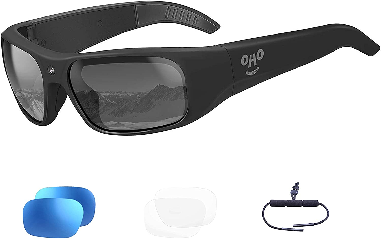 256GB OhO sunshine Waterproof Video Sunglasses, 1080P Full HD Video Recording Camera with Polarized UV400 Protection Safety Lenses,Unisex Sport Design