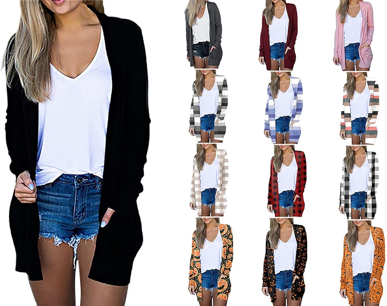 Women's Stripe Print Knit Cardigan Loose Open Front Long Sleeve Pockets Coat