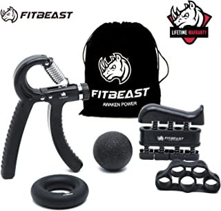 FitBeast Hand Grip Strengthener Workout Kit (5 Pack) Forearm Grip Adjustable Resistance Hand Gripper, Finger Exerciser, Finger Stretcher, Grip Ring & Stress Relief Grip Ball for Athletes