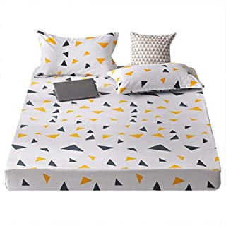 KOLIU 1 pc 100/% Cotton Bed Sheet Single Size Kids Bed Linen Pure Cotton Gray Heart Printed Double Top Sheet Stars King Sheets-type 1/_2 pillowcase48x74cm