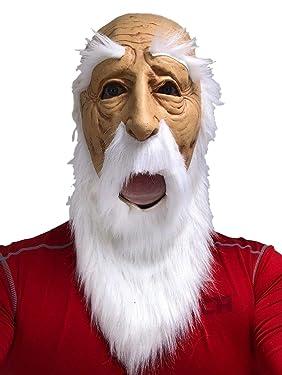 Rubber Johnnies Bald Santa, Old Man MASK , Wizard , White Beard , Adult , One Size , Bald Man , Realistic Grandpa , Burning Man , Halloween Masks , Creepy