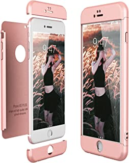 CE-Link Funda para Apple iPhone 6 Plus 6S Plus Rigida 360 Grados Integral, Carcasa iPhone 6 Plus Silicona Snap On Diseño Antigolpes Choque 3 en 1 Estructura - Oro Rosa