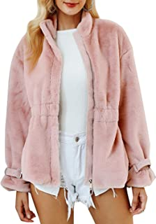 Women's Fashion Faux Fur Zipper Coat Elegant Soft Fur Outwear Jacket