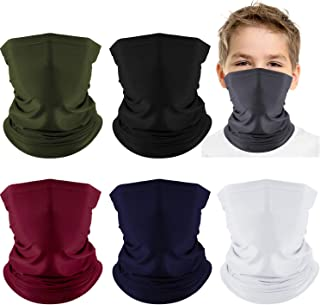 6 Pieces Kids Neck Gaiter Elastic Bandana Balaclava Face Neck Scarf Breathable Face Cover for Sun UV Wind (Black, Dark Gray, Navy Blue, Red, Army Green, White)