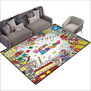 Birthday Custom Pattern Floor mat Greeting Card Inspired Artwork in Colorful Cartoon Style Festive Party Themed 70