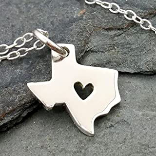 Heart of Texas State Charm Necklace - 925 Sterling Silver, 18